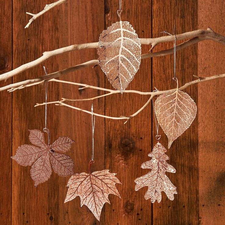 Set of five hanging copper leaf decorations christmas