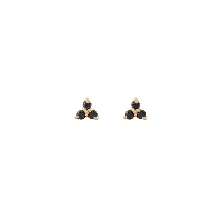Tripod Diamond Earring - 10k/14k Yellow Gold, Black Diamond