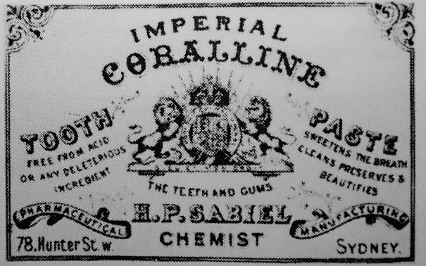 IMPERIAL CORALLINE TOOTH PASTE FREE FROM ACID OR ANY DELETERIOUS INGREDIENT SWEETENS THE BREATH CLEANS PRESERVES & BEAUTIFIES THE TEETH AND GUMS H P SABIEL PHARMACEUTICAL MANUFACTURING CHEMIST 78 HUNTER ST W SYDNEY CERAMIC POTTERY LID