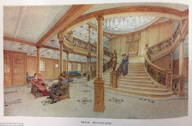 The Titanic's main staircase is arguably one of the most iconic features of the luxurious liner - in particular because of the 1998 James Cameron blockbuster film of the same name, which reconstructed the beautiful wooden stairway. The staircase - one of three on the vessel - was located between the first and second funnels and allowed First Class passengers to descend the five levels down from the First Entrance on the boat deck to the First Class reception