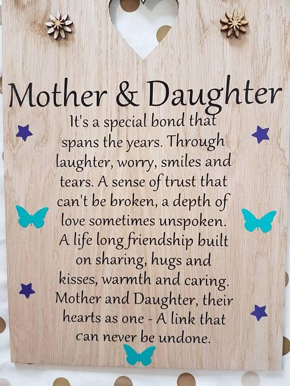 Mother And Daughter Sign Christmas Gift Mum Keepsake Daughter