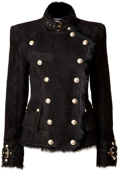 Balmain Black Shearling Doublebreasted Jacket in Black