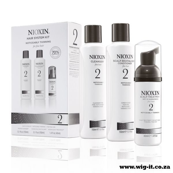Nioxin System 2 Kit Containing a trio of products for a three step regime, the NIOXIN Hair System Kit 2 for Noticeably Thinning Natural Hair works to cleanse, optimise and treat the hair for a fuller look and feel.  http://www.wig-it.co.za/nioxin/nioxin-system-2-kit-detail