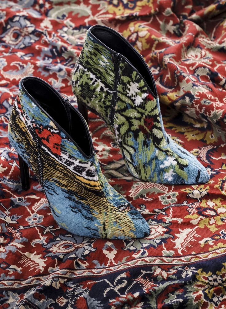 Vegan leather-free ethical high heels booties. Upcycled vintage velvet carpet. Designed by Anna Zaboeva, Pleasemachine for sustainable living and fashion