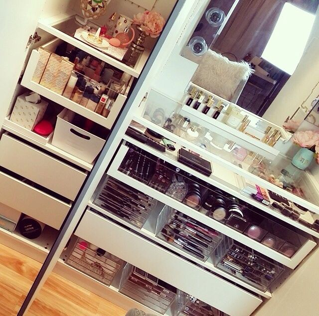 I would love to set up a small organized vanity make up station in my walk in closet. :)