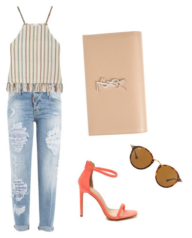 """""""Fashion street 🍭"""" by alejandra-vega-1 on Polyvore featuring moda, Dsquared2, Miguelina, Yves Saint Laurent y Ray-Ban"""