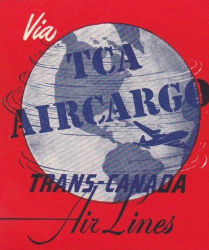 vintage luggage label via tca trans canada air lines air cargo. Black Bedroom Furniture Sets. Home Design Ideas