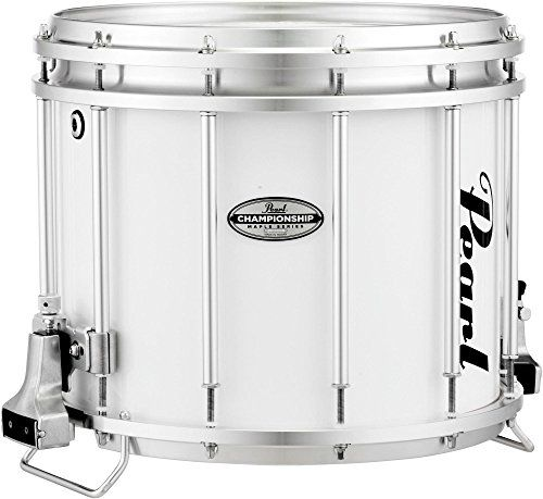 Pearl Championship Maple FFX Marching Snare Drum 14 x 12 in. Pure White:   Championship Maple FFX Marching Snare Drum 14 x 12 in. Pure White Used by today's top DCI corps, Pearl FFX Championship Series snare drums have won more than their share of High Percussion Awards. The combination of six plies of 100% maple free-floating in a super lightweight aircraft aluminum frame creates a force to be reckoned with.The Championship Maple Snare shells natural balance of mid-to-high frequencies...