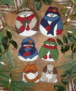 Christmas Snow Folk Ornaments - Wool Felt, Felt Appliqué Kit RG/QK0406