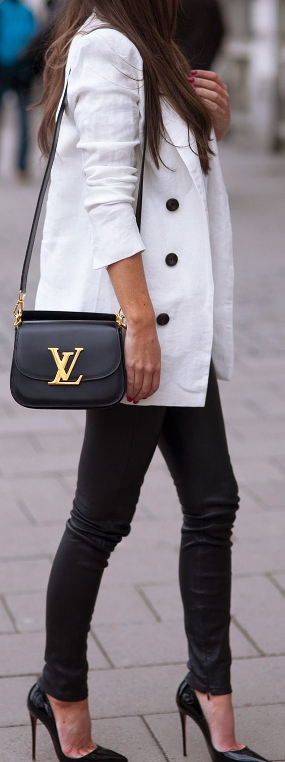 White Blazer Top and Black Skinnies Jeans or Black Leather Handbag and Christian Louboutin