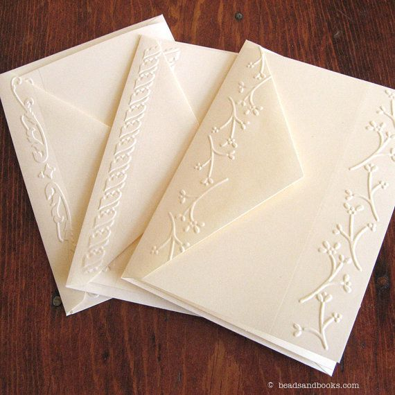 handmade Embossed Cards Set by michllemach ... embossing folder border on card and flap of matching envelope ... simply elegant ... available on Etsy