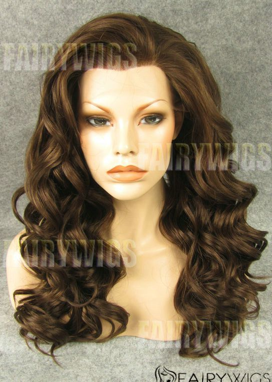 Wholesale Long Brown Female Wavy Lace Front Hair Wig 20 Inch