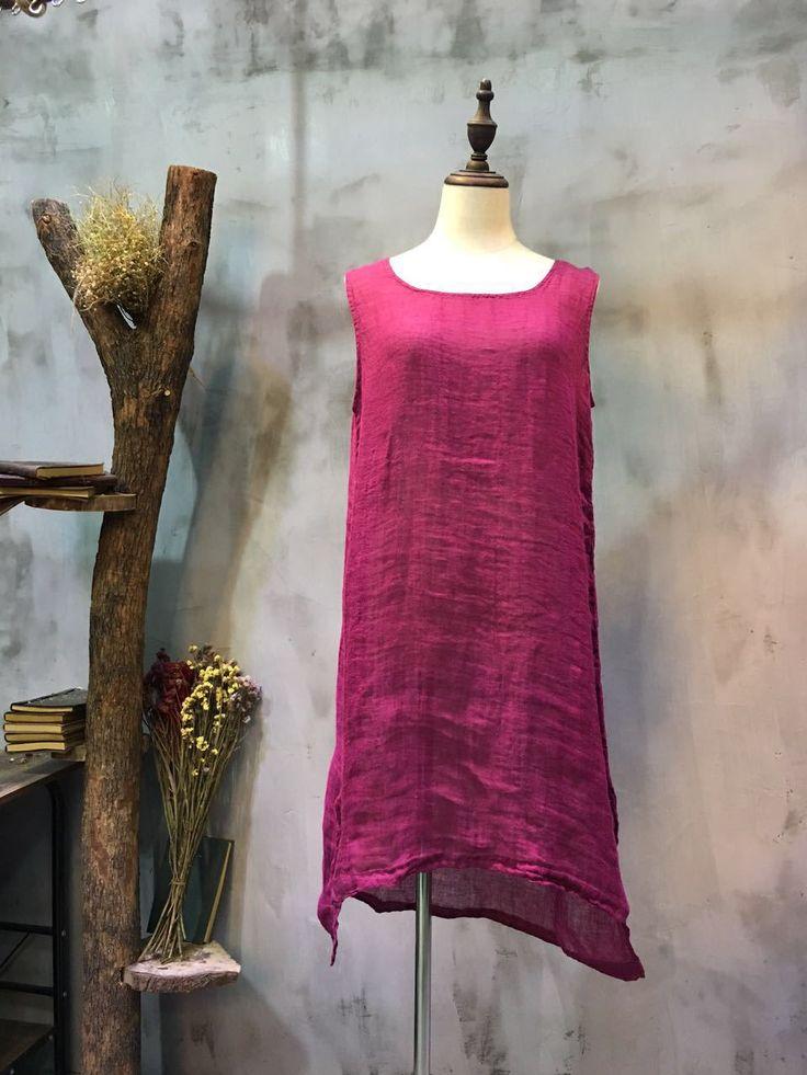 2017 Summer Hem Slit Natural Linen Camisole Cheap Flax Clothing  #camisole #cheap #flax #linen #natural #slit #tank #vest #rose #casual #leisure