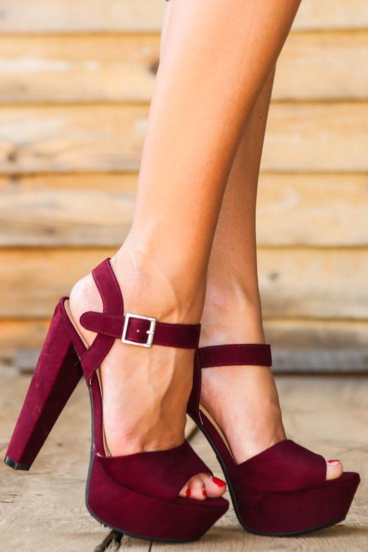 A-list Platform Heels-Maroon - All Shoes