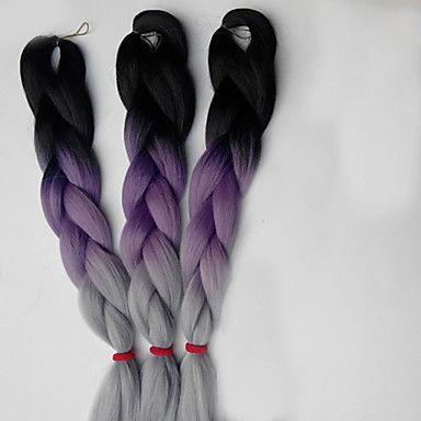 Box Tranças Jumbo Extensões de cabelo 24inch Kanikalon 3 costa 80-100g/pcs grama…