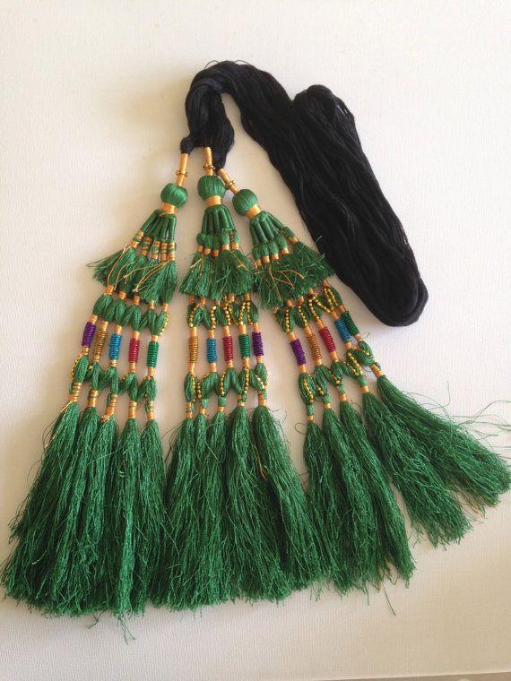 Hair Tassels, Green Gold,Tribal  Belly Dance, Hair Ornaments, Tribal Hair, Bellydance Costume, Bohemian Hair Extension, Hair Jewellery