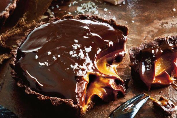 Salted chocolate & caramel tarts. Get your chocolate fix in this sumptuous salted chocolate & caramel tart recipe.
