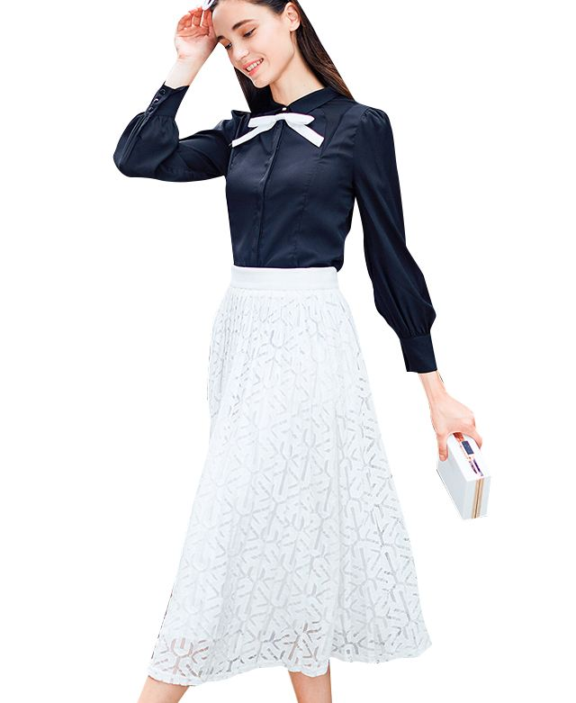 Blouse with Contrast Bow