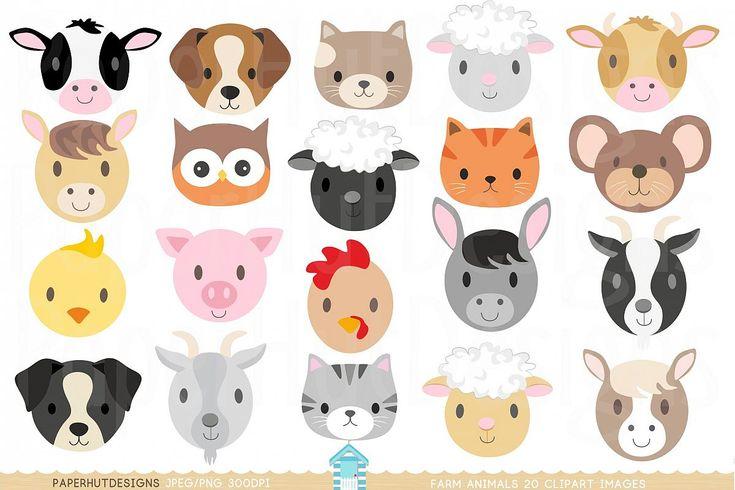 Farm Animal Faces Clipart | Farm animal crafts, Baby farm ...