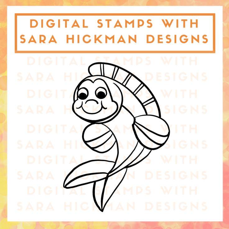 Digital Stamps: River Fish - left