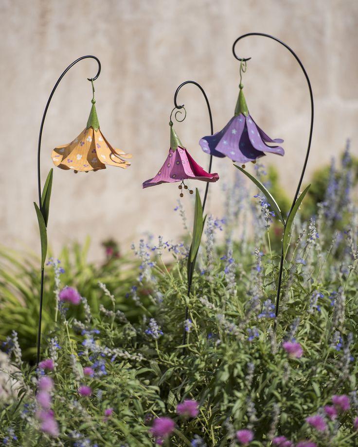 Metal Flowers: Trumpet Flower Decorative Garden Stakes Set of 3