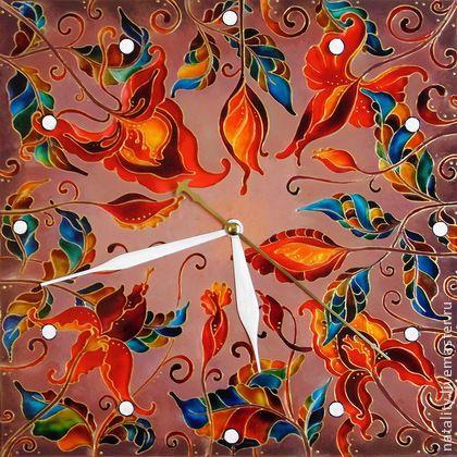 """Часы для дома ручной работы. Ярмарка Мастеров - ручная работа Часы """"Терракотовые узоры"""". Handmade."""