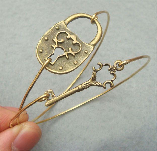 Fancy Key and Lock Bangle 2 Bracelet Set. $17.95, via Etsy.