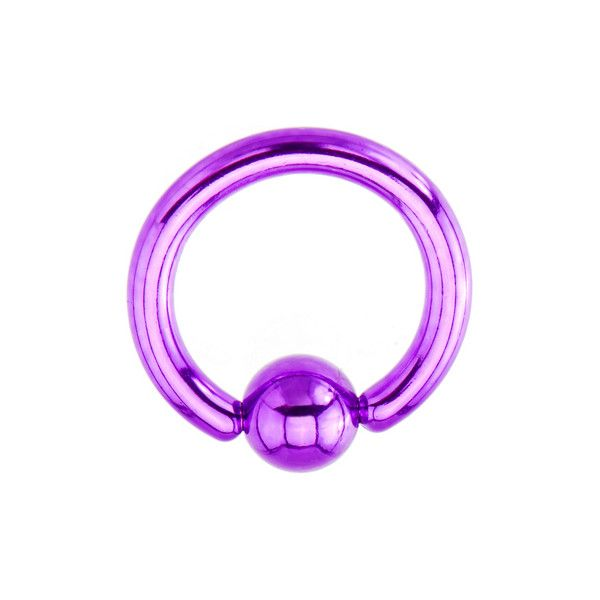 """14 Gauge Light Purple Electro Titanium BCR Captive Ring -3/8""""   Body... ❤ liked on Polyvore featuring jewelry, piercings, accessories, body jewelry, earrings, titanium jewelry, body jewellery, lavender jewelry and titanium body jewelry"""