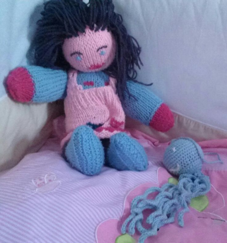 Handmade knitted doll by my mom!