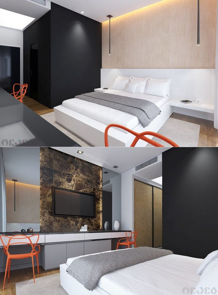 Bedroom:Good Looking Ultra Bedroom Design With Simple Bed With White Cushions Coverbeds Also Black Small Bathroom And Large Mirror Also Vanity And Orange Chairs With Carpet And Laminate Floor Some Ideas of Modern Bedroom Design to Inspire You