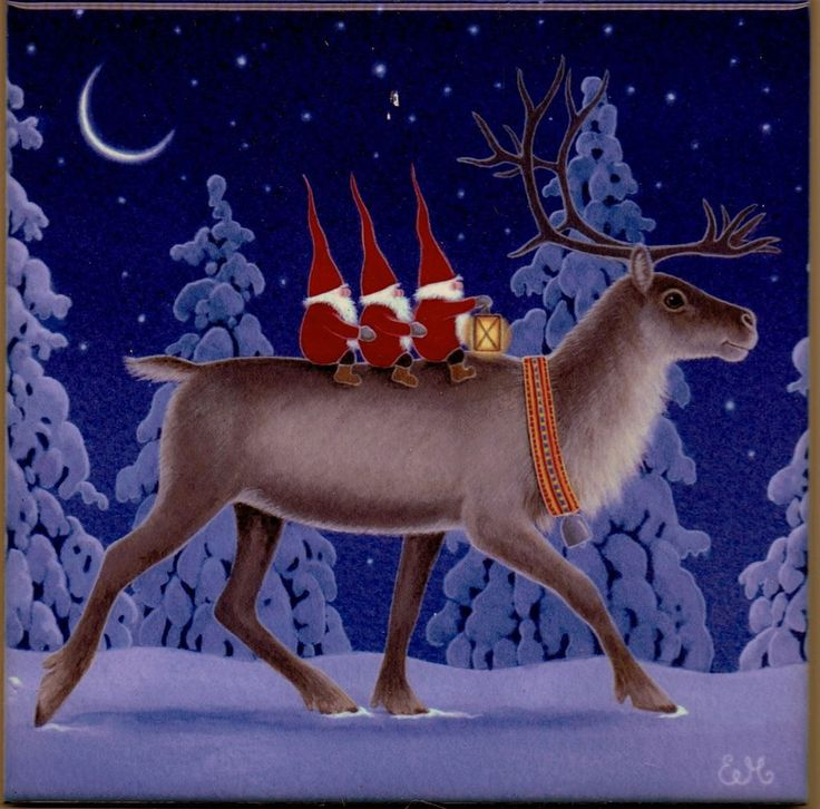 "Trivet Tile ""Tomtar on a Reindeer""  by contemporary Swedish artist Eva Melhuish 6"" X 6"" Cork Back.  For sale in my eBay store."