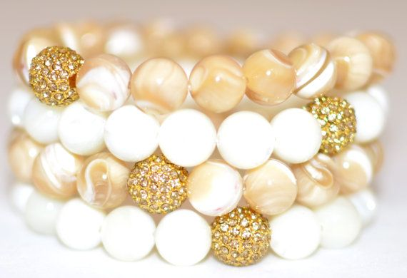 Mother of Pearl Semi Precious Gemstone Beaded Bracelets with Topaz Pave Rhinestones - Set of 4