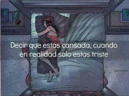 Y decimos: Solo estoy cansada para no explicar los motivos que nos tienen tristes...