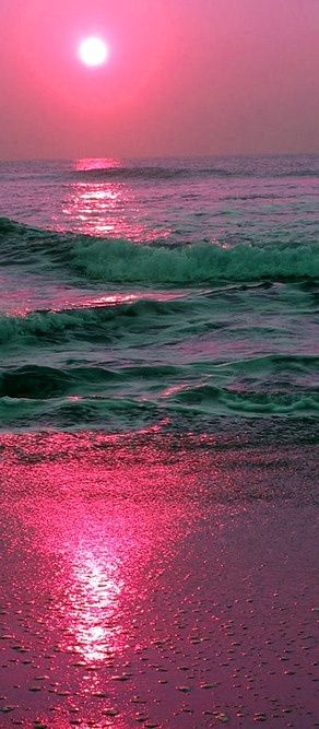Pink sunset on the sea