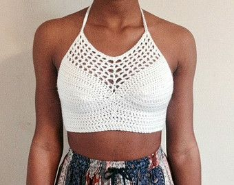 Triangle Crossback Crochet Halter Top by ascrochets17 on Etsy