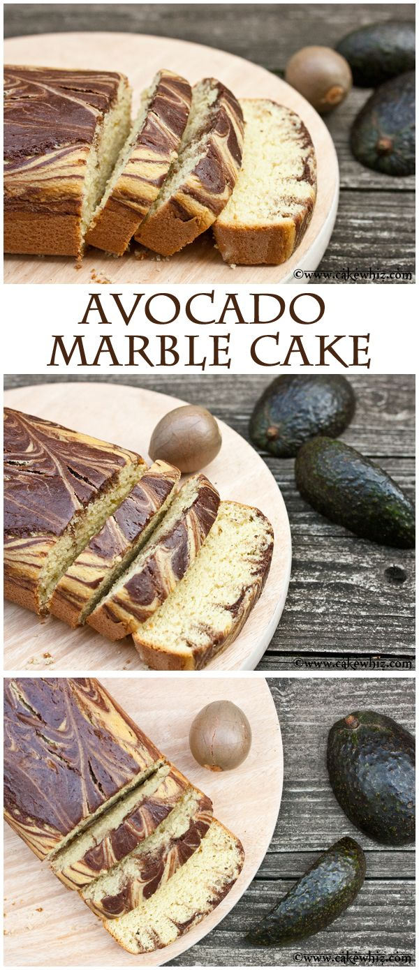 AVOCADO MARBLE CAKE... No butter! NO No oil! No shortening. But, this cake is still sooooo soft and moist and totally delicious. From cakewhiz.com