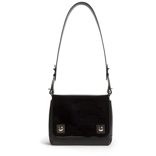 Carven Mercer Two-Tone Leather Shoulder Bag ($950) ❤ liked on Polyvore featuring bags, handbags, shoulder bags, apparel & accessories, black, black handbags, leather purse, black leather purse, black leather shoulder handbags and two tone leather purse