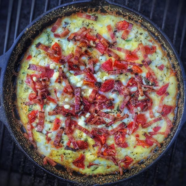 Got Quiche?  Starting this Labor Day off cooking quiche on the #traeger Elite Pro Grill... Pesto, Parmesan, Cream Cheese, Cottage Cheese, Fresh Basil, Traeger-cooked Bacon, Traeger-roasted Tomatos + Red Peppers, & a Bread-Crumb / Butter Crust - going to