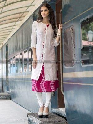 White N Pink Rayon Cotton Lovely Designer Kurti