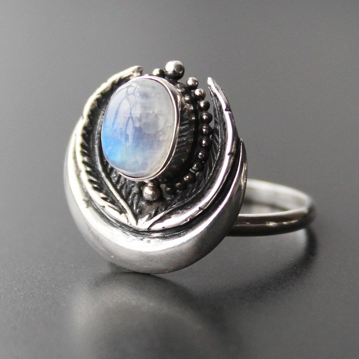 ❧ Physis Moonstone ❧ In store now ☞ shopdixi.com ❧ shop dixi // dixi // boho // bohemian // jewelry // jewellery // grunge // goth // hippie // hipster // gothic // moonstone // magic // ring // sterling silver