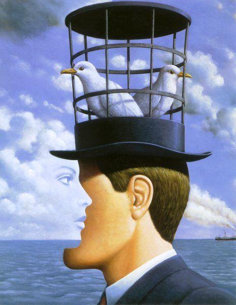 Par Rafal Olbinski (1945) illustrateur/peintre surréaliste et designer  polonais, émigré aux Etats-Unis en 1981. Son oeuvre est principalement consacrée à des détournements de tableaux de Magritte, des effets d'optique et des tableaux en trompe-l'oeil.