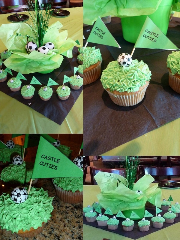 soccer party cupcakes