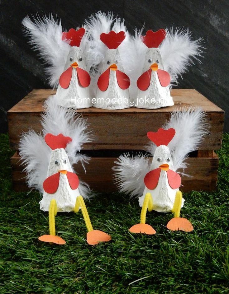In deze blogpost laat ik zien hoe je kippen van een eierdoos maken kunt. Pasen is natuurlijk een ontzettend leuk thema om voor te gaan knutselen en ik heb dan ook inmiddels alweer een aantal leuke din