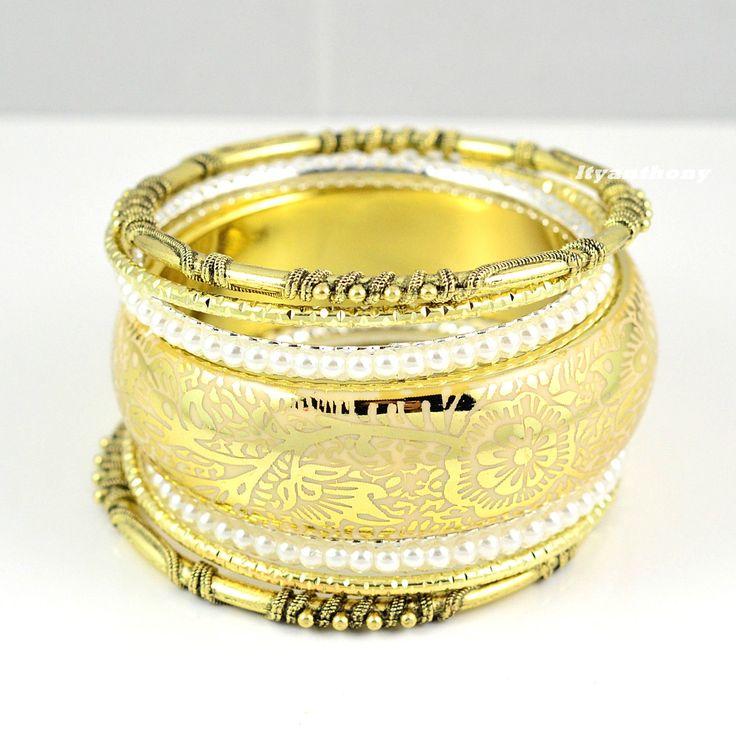 Unique Vintage Mixed Metal Gold / White Beads Bracelet Bangle Set Of 7 Pcs