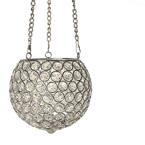 VINCIGANT Gold/Silver Hanging Crystal Candle Holders