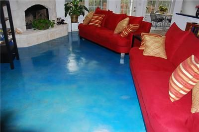Blue Stained Concrete Stained Using Kemiko Aqua Blue