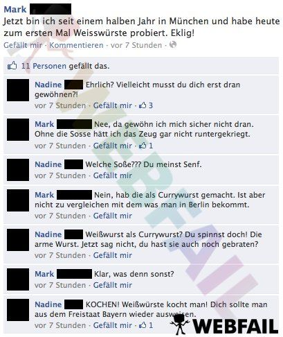 Zum ersten mal Weißwürste probiert - Facebook Fail des Tages 25.09.2013 | Webfail - Fail Bilder und Fail Videos