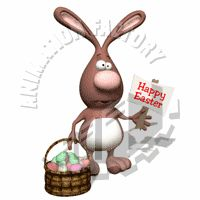 Easter Bunny Holding Happy Easter Sign Animated Clipart