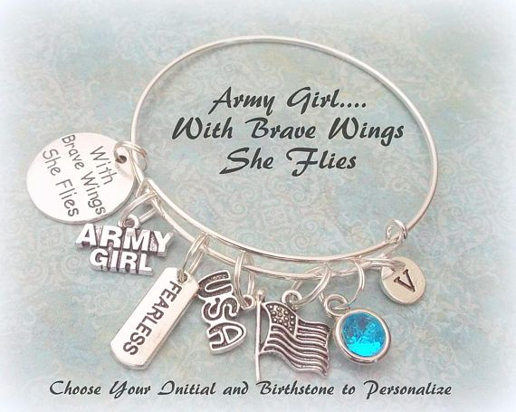 Army Girl Charm Bracelet Personalized Initial and Birthstone
