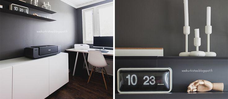 Tavoitteena miehisempi työhuone! Katso Saa kurkistaa -blogin Mintun kirjoitus työhuoneen pintaremontista. Toteutettu yhteistyössä K-raudan kanssa. #krauta